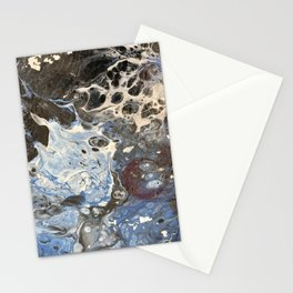 Blue Bubbles #2 white black and blue abstract meditational Stationery Cards