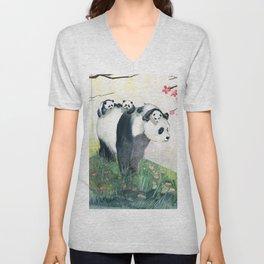 Panda family Unisex V-Neck