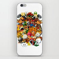 mario bros iPhone & iPod Skins featuring Super Mario Bros. Battle by Magik Tees