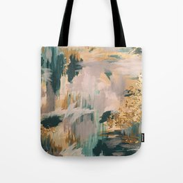 Teal and Gold Abstract- 24K Magic Tote Bag