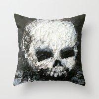 abigail larson Throw Pillows featuring Skull Art by Jack Larson by Jack Larson
