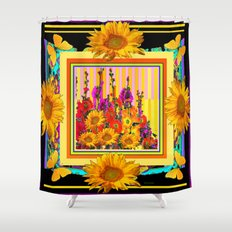 Victorian Style Hollyhock Sunflowers Butterflies Black Art Shower Curtain