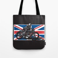 cafe racer Tote Bags featuring NORTON TT RACER | DARK by Ernie Young
