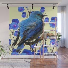 BLUE BIRD & BLUE MORNING GLORIES ART FROM  SOCIETY6 BY SHARLESART. Wall Mural
