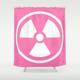Pink Radioactive Symbol Shower Curtain