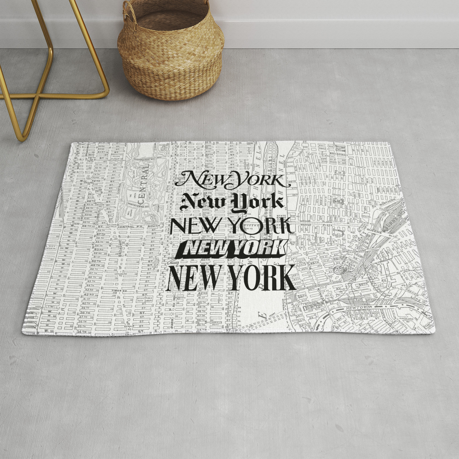 New York City Black And White New York Poster I Love Heart Nyc Design Black White Home Wall Decor Rug By Themotivatedtype Society6