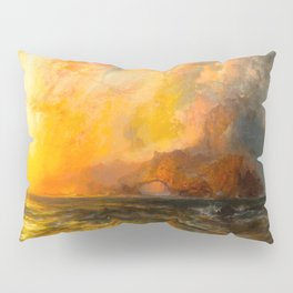Majestic Golden-Orange Sunset Over the Troubled Atlantic Ocean landscape by Thomas Moran Pillow Sham