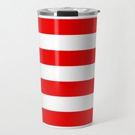 Stripe Red White Travel Mug