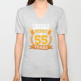 Cheer and Beers To 55 Years Birthday Party Alcohol Design Unisex V-Neck