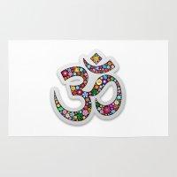 ohm Area & Throw Rugs featuring Om Aum Namaste Yoga Symbol  by BluedarkArt