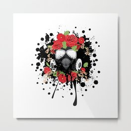 Gas Mask with Red Roses Metal Print