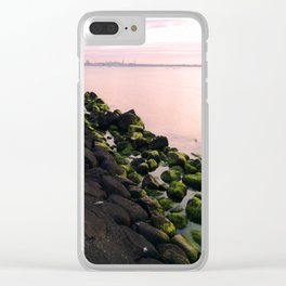 Green Stones and Skyline Clear iPhone Case