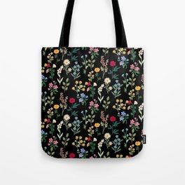 Spring Botanicals Black Tote Bag