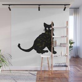 autumn black cat sketch Wall Mural