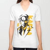 kafka V-neck T-shirts featuring Kafka portrait in Orange, Black & Yellow by aygeartist