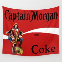 coke Wall Tapestries featuring Captain and Coke by Hitting 50