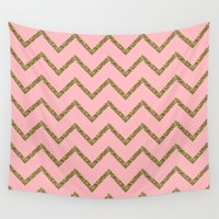 gold glitter Wall Tapestries featuring Gold & Pink Glitter Chevron by Stay Inspired