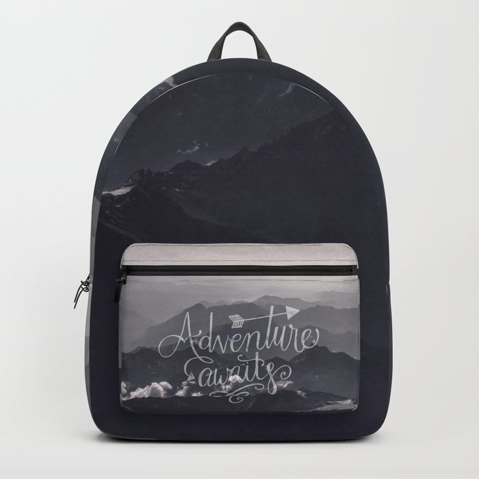 Adventure awaits Typography Gorgeous Mountain View Backpack