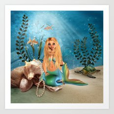 Mermaid Coral Pearl Art Print