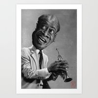 louis armstrong Art Prints featuring Louis Armstrong by AndreKoeks