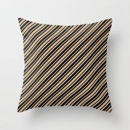 Tan Brown and Black Diagonal RTL Var Size Stripes Throw Pillow