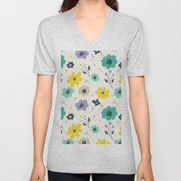 Modern ivory lime green teal violet floral illustration Unisex V-Neck