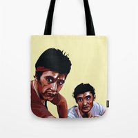 scarface Tote Bags featuring Scarface by Taylor Gonzales