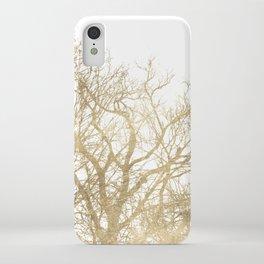 Elegant botanical gold foil tree  branch iPhone Case