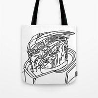 garrus Tote Bags featuring Garrus by Cat Milchard
