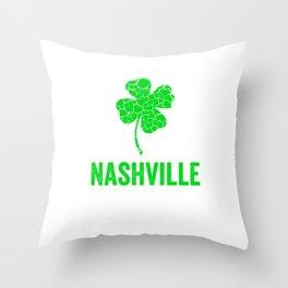 Nashville Irish, St Patricks Day, Four Leaf Clover Throw Pillow