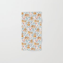 Lazy Lion Cubs and Pretty Poppies on White Hand & Bath Towel