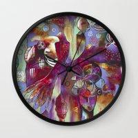 "flora bowley Wall Clocks featuring ""Manifest"" Original Painting by Flora Bowley by Flora Bowley"