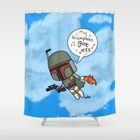 boba Shower Curtains featuring boba by kaylieghkartoons