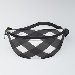 Contemporary Black & White Tilt Gingham Pattern - Mix & Match With Simplicty Of Life Fanny Pack