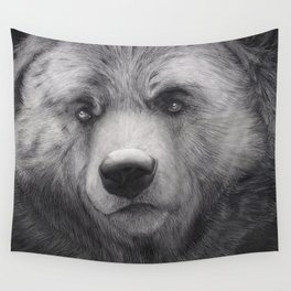 Bear Charcoal Wall Tapestry