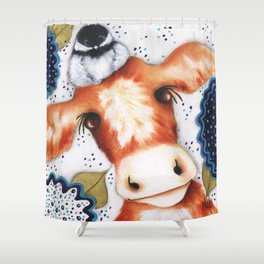 Chickadee Farm Original Art by Deb Harvey Shower Curtain