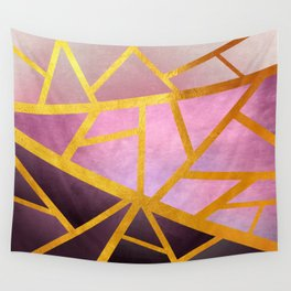 Textured Pink Geometric Gradient With Gold Wall Tapestry