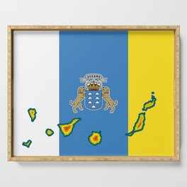 Canary Islands Flag with Map of the Canary Islands Islas Canarias Serving Tray