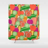 vegetables Shower Curtains featuring Vegetables by Valendji