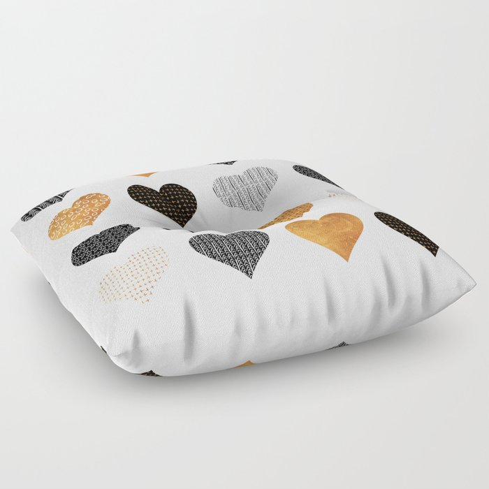 Gold, black, white hearts Floor Pillow