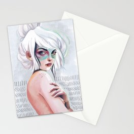 silver hair girl waiting Stationery Cards