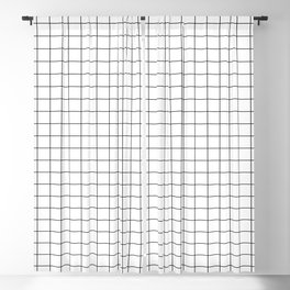 Black and White Thin Grid Graph Blackout Curtain