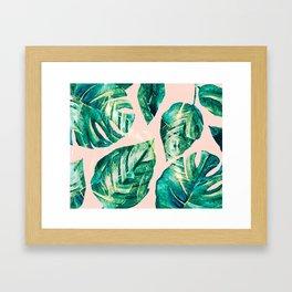 Leaf watercolor pastel Framed Art Print