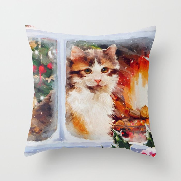 Kitten Christmas.Christmas Kitten Throw Pillow