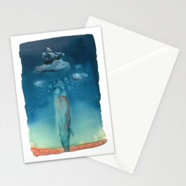 Moby Dick Dreams - Watercolor - Sperm Whale Stationery Cards