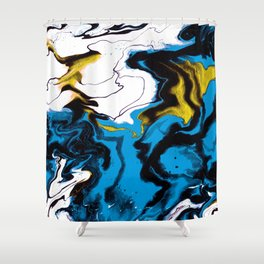 Dreamscape 01 in Blue, White & Gold Shower Curtain