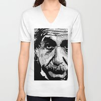 einstein V-neck T-shirts featuring Einstein by lyneth Morgan