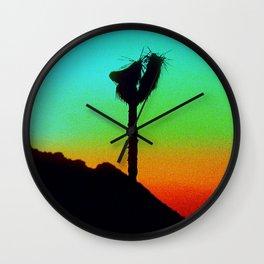 Lone Joshua Tree in Desert Sunset Wall Clock