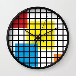 Modern geometric background, red, yellow, green,orange and blue  #society6 #decor #buyart #artprint Wall Clock