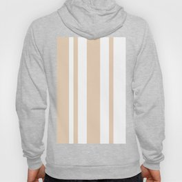 Mixed Vertical Stripes - White and Pastel Brown Hoody
